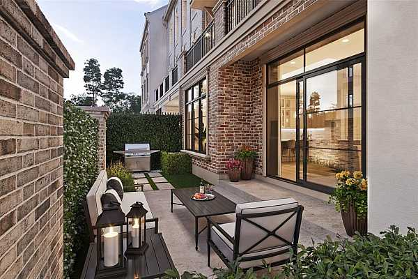 Photo #6 Interior Rendering showcasing open layout first-floor living! Featuring well-equipped kitchen with Bosch appliances and dining overlooking private courtyard.
