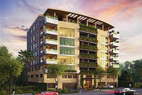 Photo #3 A boutique condominium with limestone exterior,floor-to-ceiling window walls, vertical gardens and expansive outdoor terraces, Mimosa Terrace is located on a quiet residential street in River Oaks, blending naturally into the landscape of this classic, upscale neighborhood.