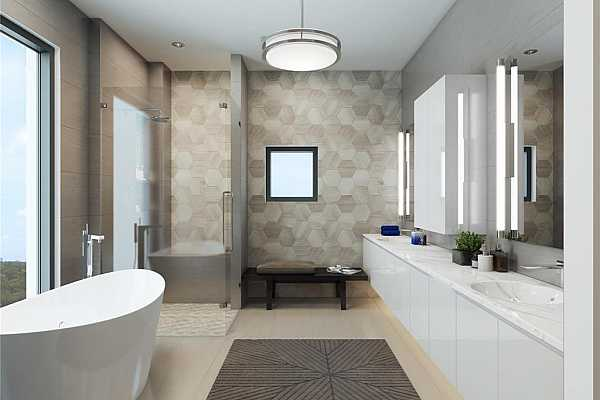Photo #9 Spa-inspired primary bath with frameless shower enclosure, soaking tub by Bain Ultra, Toto toilets, quartz countertops, chrome fixtures and porcelain tile floors. Rendering shown is an example and may not be representative of this unit.
