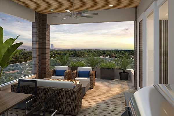 Photo #3 Large covered terrace serves as an extension of your home and lifestyle, raising the bar for condo living. Fireplace and summer kitchen options are available to create your perfect outdoor living space. Rendering shown is an example and may not be representative of this unit.