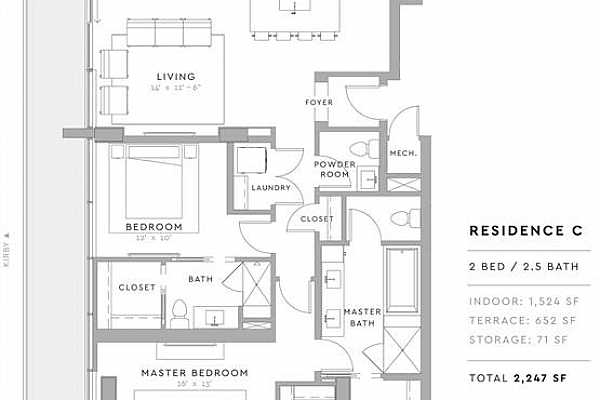 Photo #6 The C Plan offers 2 bed/2.5 bath, high ceilings, spacious windows, hardwood flooring, Bosch stainless steel appliances, and the unrivaled high-quality standard for which Pelican Builders is known.