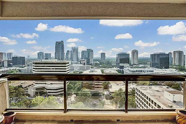 Photo #1 49 Briar Hollow, Unit 2001 offers this gorgeous view out over the Galleria and Tanglewood.  Relax outside on your balcony and enjoy this fantastic view.