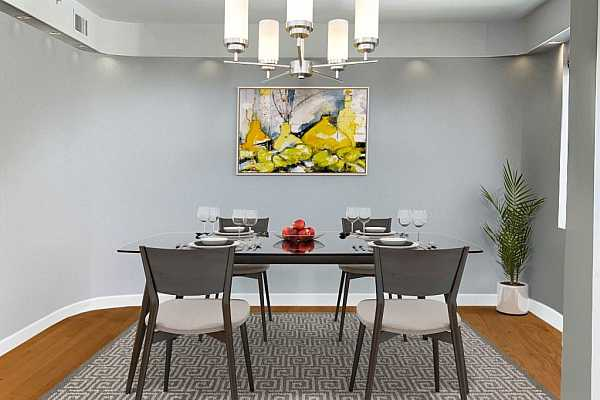 Photo #7 Dynamic staged photo of contemporary approach to dining room.