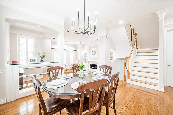 Photo #4 This house has both Dining and breakfast room. Located just off the kitchen with New designer chandelier.