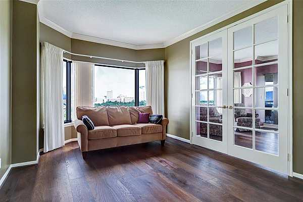 Photo #9 The previous owner used this room as a den/TV room. French doors lead to the main living room, but can easily be converted back to a guest bedroom with closet.