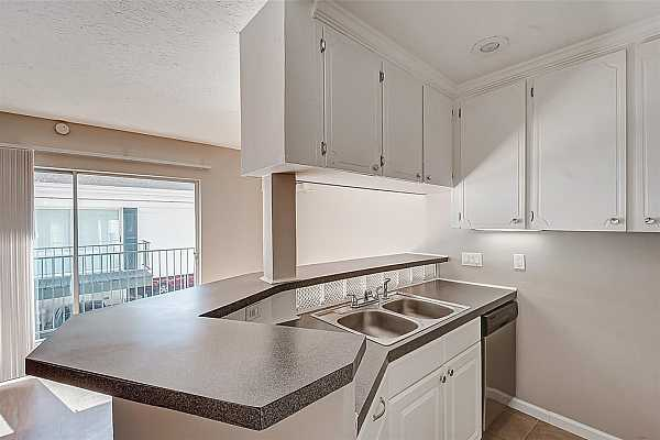 Photo #4 This kitchen has plenty of island countertop space for storage and comes with a double sink and stainless steel dishwasher.